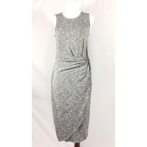 [bar iii] gray midi ruched faux wrap knit dress